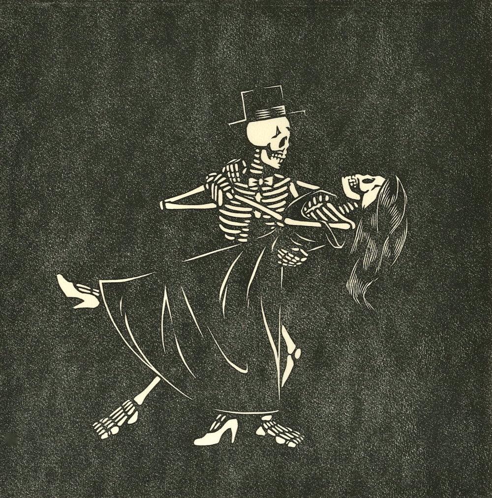 "Danse Macabre . Linocut. 2011. 9x9"""