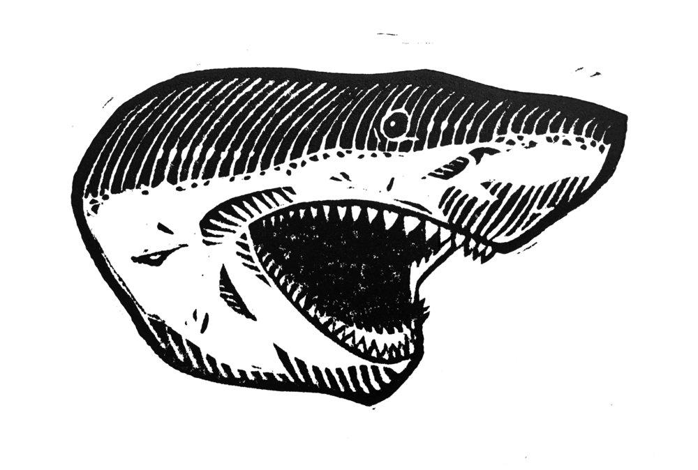"Untitled (Shark) . Linocut. 2018. 4x6"""