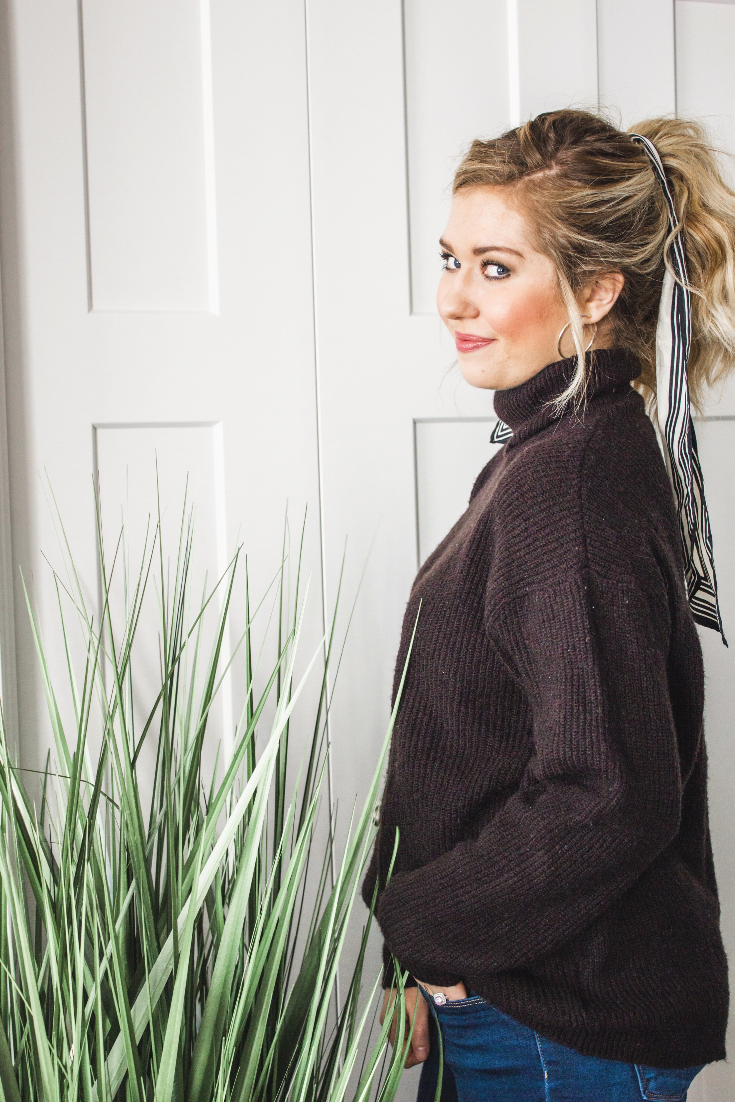 e8fbfc743b 2 Ways to Style a Black Sweater   Jeans Outfit — Adrianna Bohrer