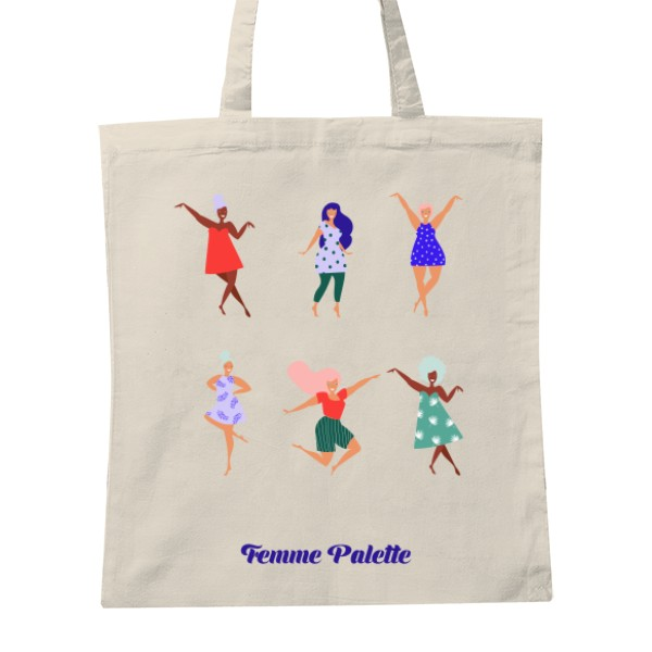 Happy Femme tote bag - Cotton tote bag with Happy Femme illustrations390 CZK