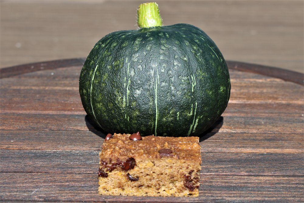 Kabocha transformed! - Abundant and nutrient filled WOW Farm grown Kabocha squash is the main ingredient of these moist chocolatey mouthfuls of goodness.