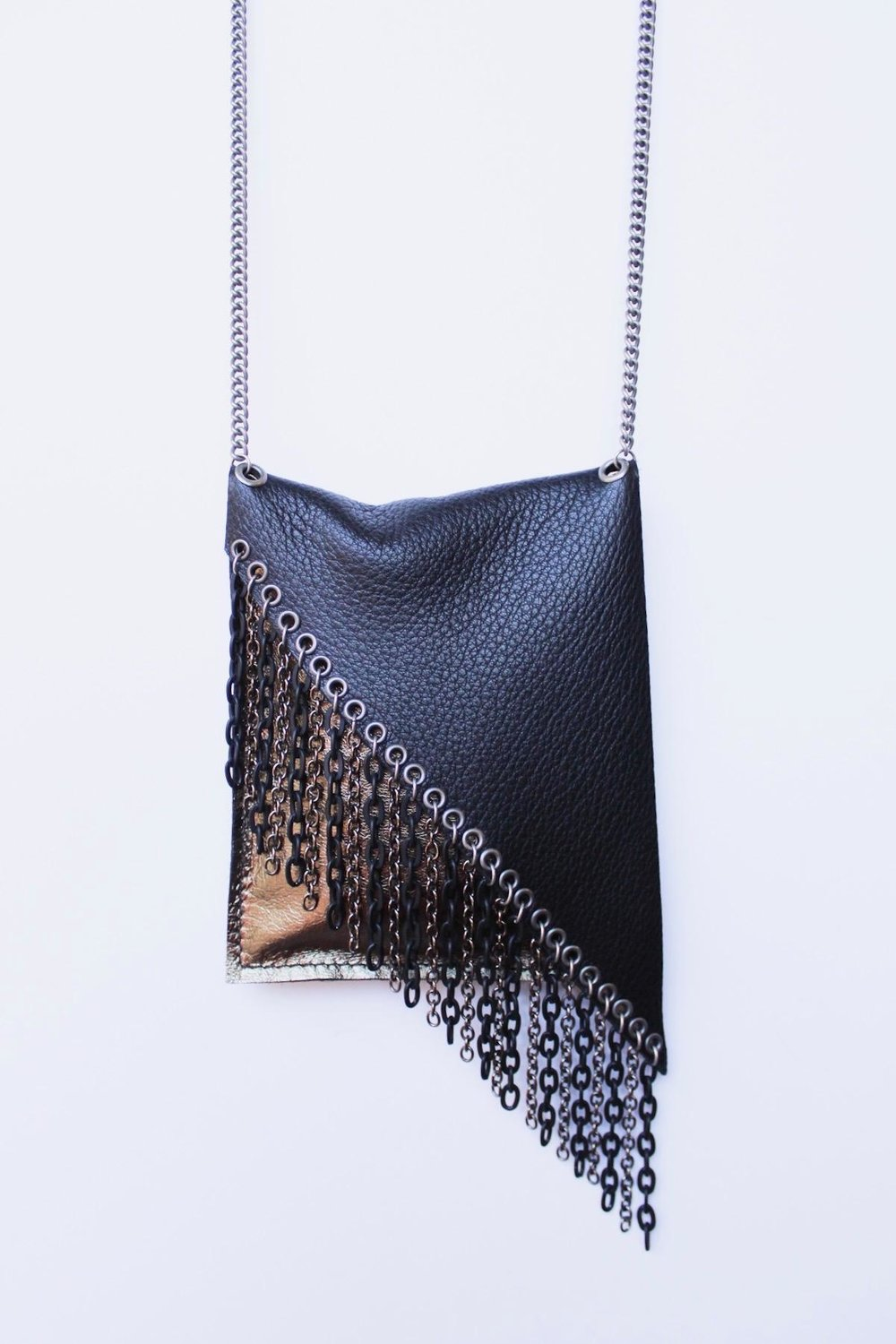 Second is Bronze metallic lambskin bag with black deerskin flap embellished with multi chain fringe.  $128..jpg