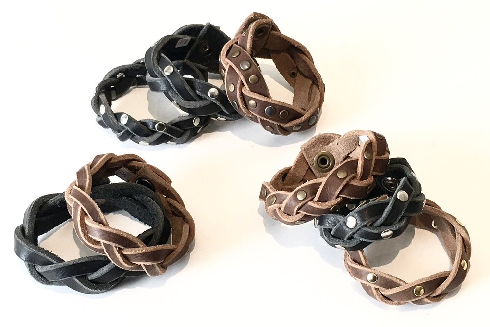 Mystery Weave Cuffs.  Assorted colors and metal detail.  $48..jpg