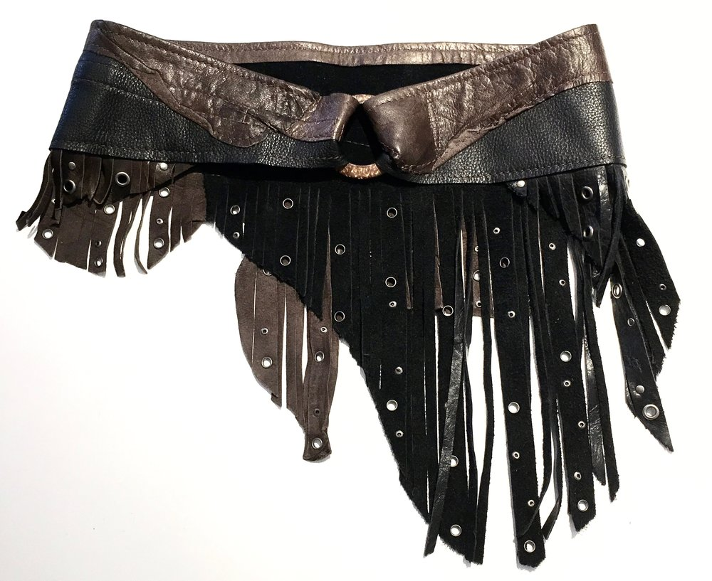 Black and brown cowhide with layered fringe and antiqued nickel metal work. $348..jpg