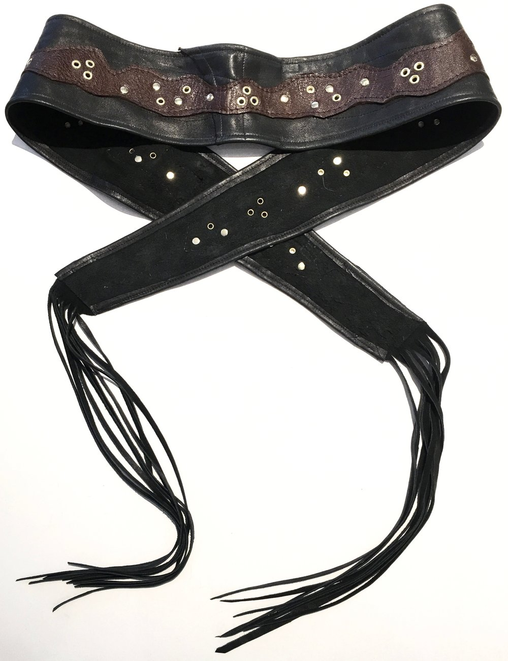 Black lambskin HipWear with brown cowhide and polished gold colored metal work.  Tied around waist. Back view. (1).jpg
