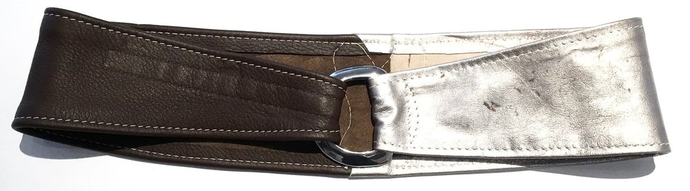 Brown deerskin and silver metallic lambkin HipWear.  Polished nickel D ring and adjustable velcro closure. $248..jpg