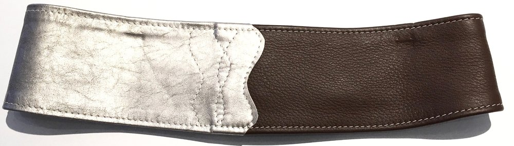 Brown deerskin and silver metallic lambkin HipWear.  Polished nickel D ring and adjustable velcro closure. Back view..jpg
