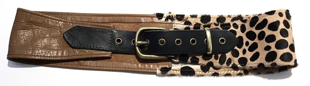 Camel colored cowhide and hair on hide cheetah print HipWear. Adjustable belt closure. $248..jpg