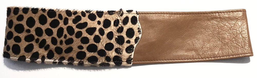 Camel colored cowhide and hair on hide cheetah print HipWear. Adjustable belt closure. Back view..jpg