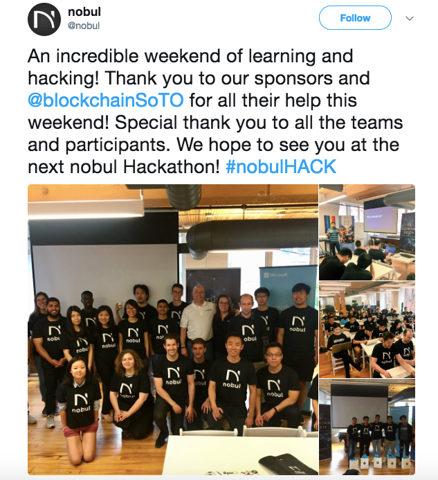 - A round of applause to each of the teams involved, and the speakers and sponsors on site who contributed to a successful and informative event. The future of blockchain is certainly bright.
