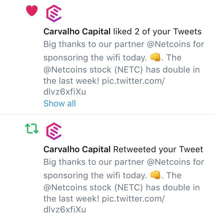 - A big thanks from Carvalho Capital for @Netcoins wifi sponsoring.