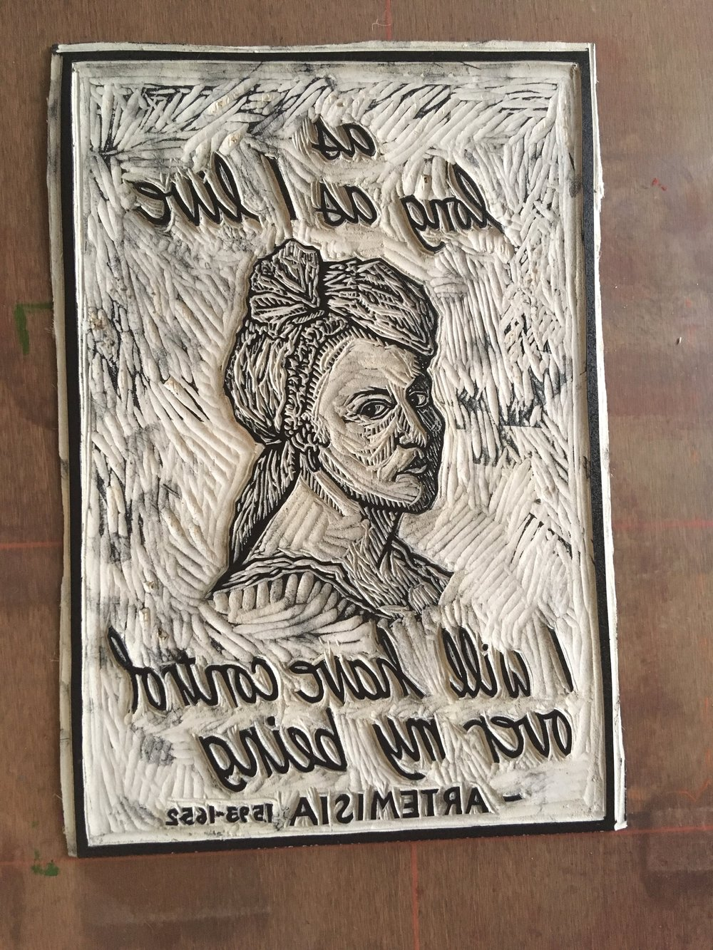 """Each Artemisia print is hand printed from my original, hand carved linoleum block. They measure 11""""x8"""" and are printed in oil based Caligo Inks on archival Rives BFK paper and are signed and numbered."""