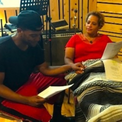 Actors Patrice Flemings and Joshua Boone recording  Care Inc.  by Eric Micha Holmes.