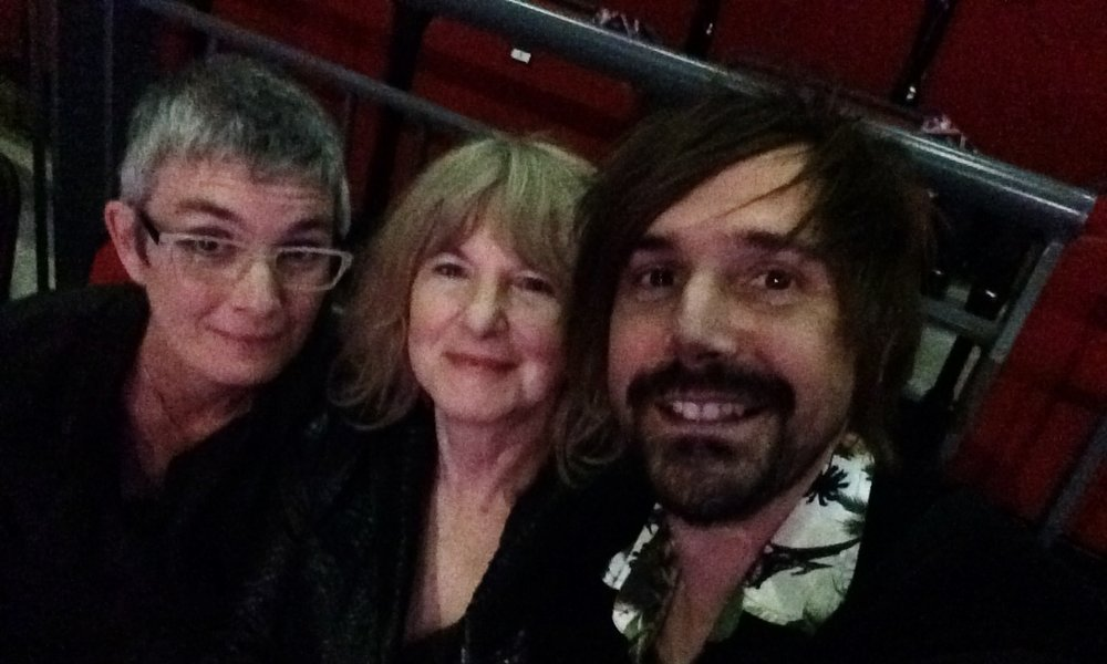 "The team on ""Shadowbahn,'"" our nominated play in the Fiction category. Anita Sullivan (adaptor), Judith Kampfner (co-producer), and Steve Bond (co-producer)."