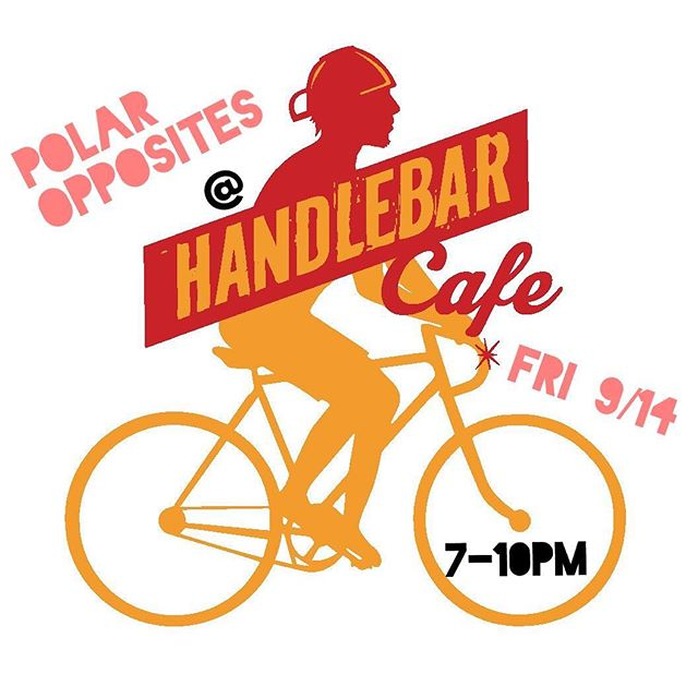 "Incoming storm threat got you down? Come out this Friday 9/14 and let the signature @handlebarcafe ""Hurricane Daiquiri"" pick you right up! Oh...and we'll also be there to lift your spirits from 7-10PM! #freelivemusic #polaroppositesband #friday #embracethestorm #bites #brews #bikes #baltimore"