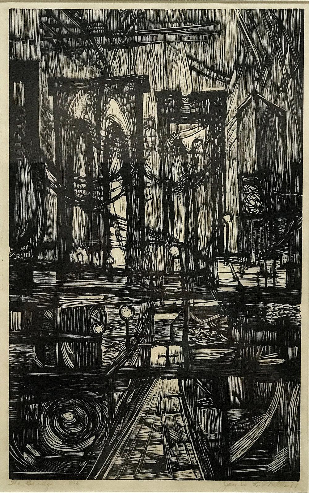 James Lesesene Wells. (1902-1993)   The Bridge , Woodcut, 25 1/8 x 19 1/8 inches,1961