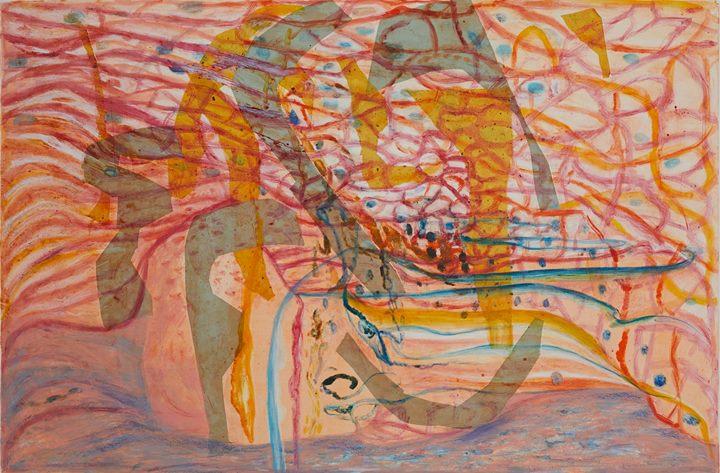 Tara Sabharwal. FLOAT. 2018. Watercolor, Etching ink, and Chine-Collé.