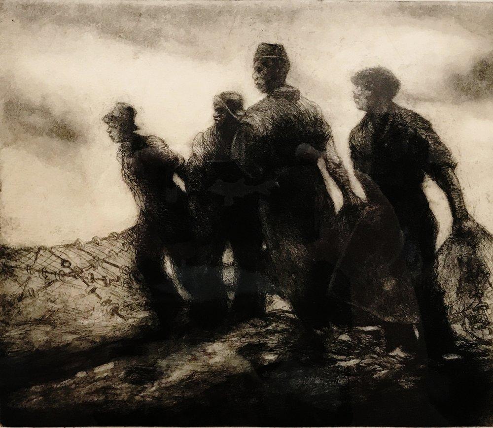 Dox Thrash. (1893-1965)   After Fishing , Carborundum,ND