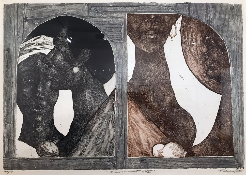 Cortor Eldzier. (1916-2015)   Environment #5 , Intaglio, 33x41 inches, 1969