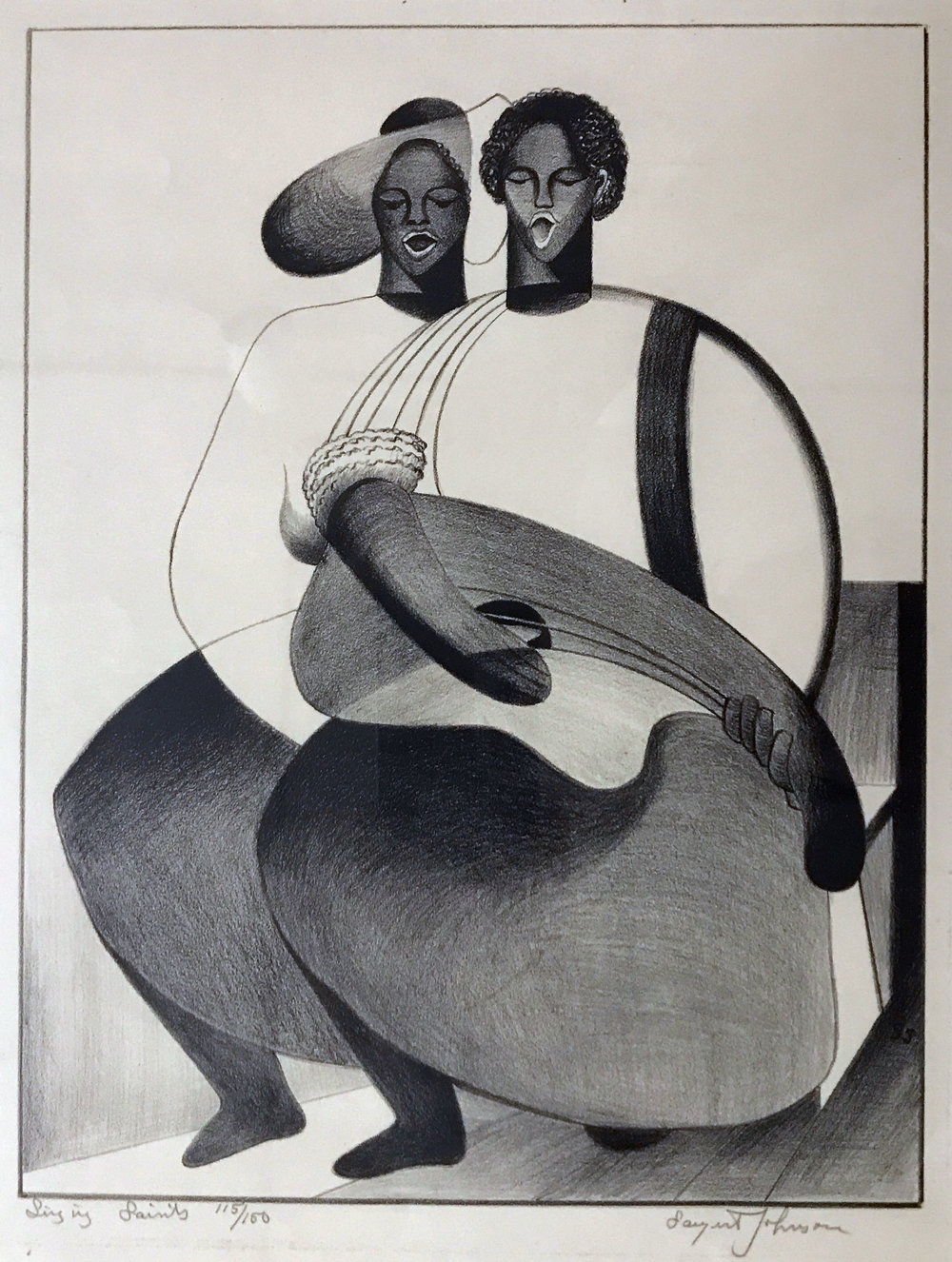 Sargent Johnson. (1888-1967)   Singing Saints . Lithograph, 20 1/8 x 16 inches, 1940