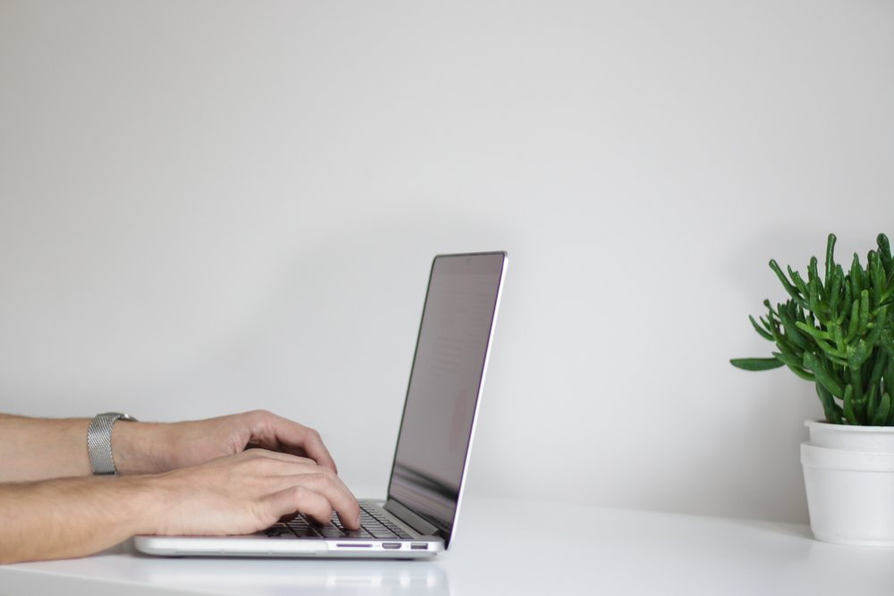 Person typing on laptop with cactus plant in background