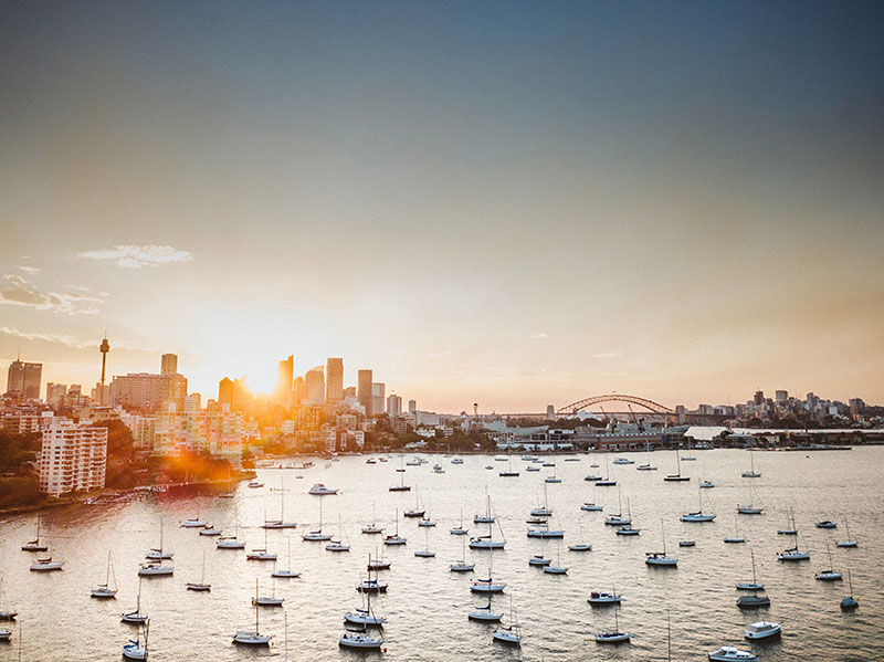 View of Sydney CITY skyline with VIEW OF Sydney harbour bridge and boats in the harbour