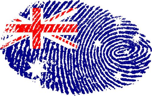 Australian flag in the shape of a biometric finger print