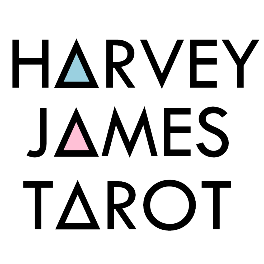 New logo, featuring three triangles in place of each letter A in the words Harvey James Tarot, one blue, one pink, and one white.