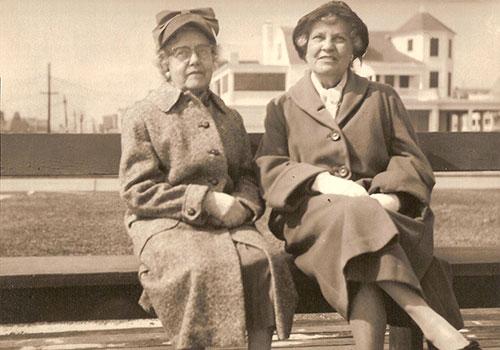 Circa 1959 / Ocean Grove, N.J.  L-R Blanche Vanderveer Bray (wife of Joseph Elmer Bray), Adele Mildred Bray.