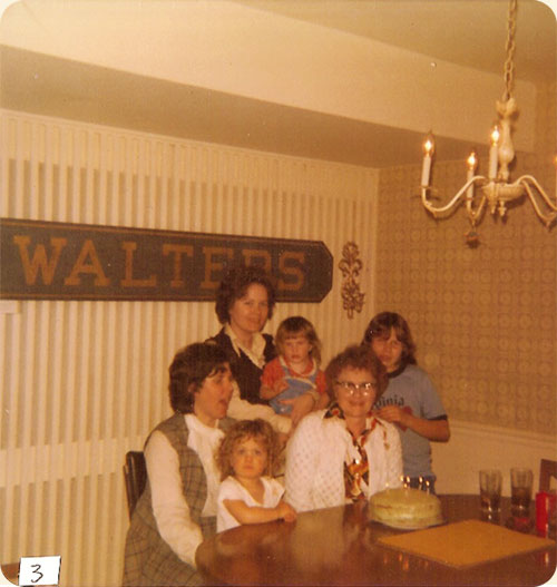 March 1977 / Falls Church, VA  L-R standing Lea W. Gregory w/Sarah A. Walter, Anna M. Walter, seated Carole W. Earle w/Kevin Earle, Ruth J. Walter celebrating birthday. Note station sign from Walter's, PA