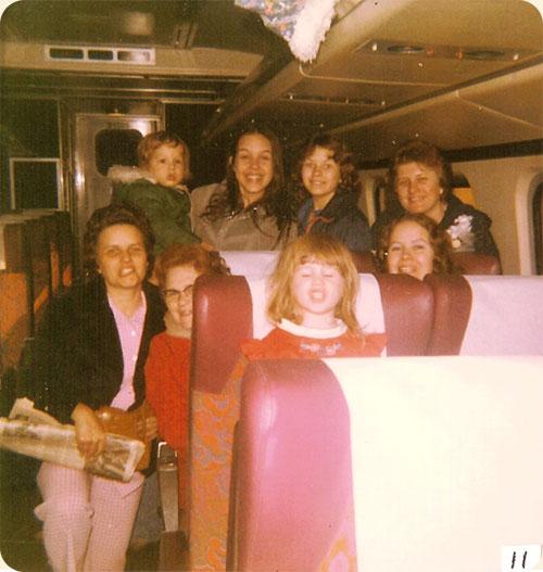 February 1978 (Brice Wedding)/ Newport News, VA  L-R back row Dwayne & Elizabeth B. Wicker Anna M. & Sandra P. Walter, front Naomi W. Brice, Ruth J. Walter, Sarah A. Walter, Lea W. Gregory on Amtrak train before it left for Alexandria, VA