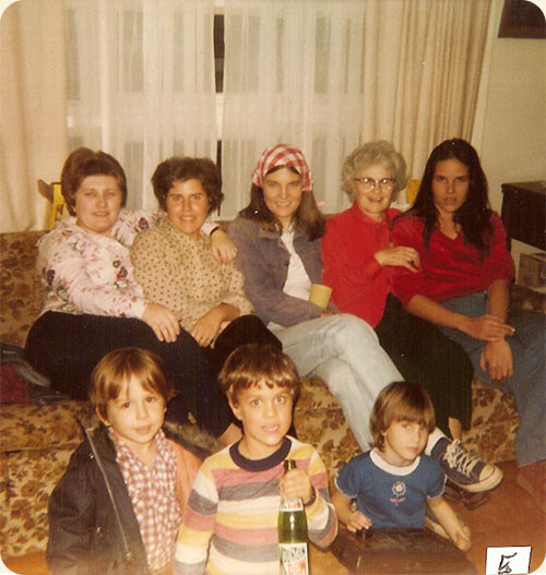 November 1980 (Thanksgiving) / Chapel Hill, N.C.  L-R rear Sandra P. Walter, Carole W. Earle, Rose Mary J. Walter, Ruth J. Walter, Elizabeth B. Wicker; L-R front Dwayne Wicker, Kevin Earle, Sarah A. Walter