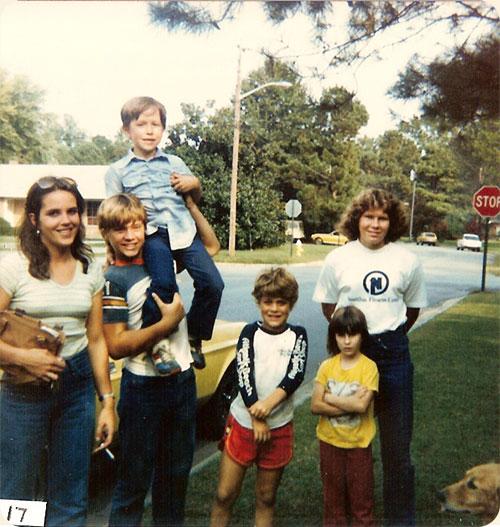 October 10, 1982 / Elizabeth City, N.C.  L-R Elizabeth B. Wicker, Jeffery Earle holding Dwayne Wicker, Kevin Earle, Anna M. Walter, front Sarah A. Walter