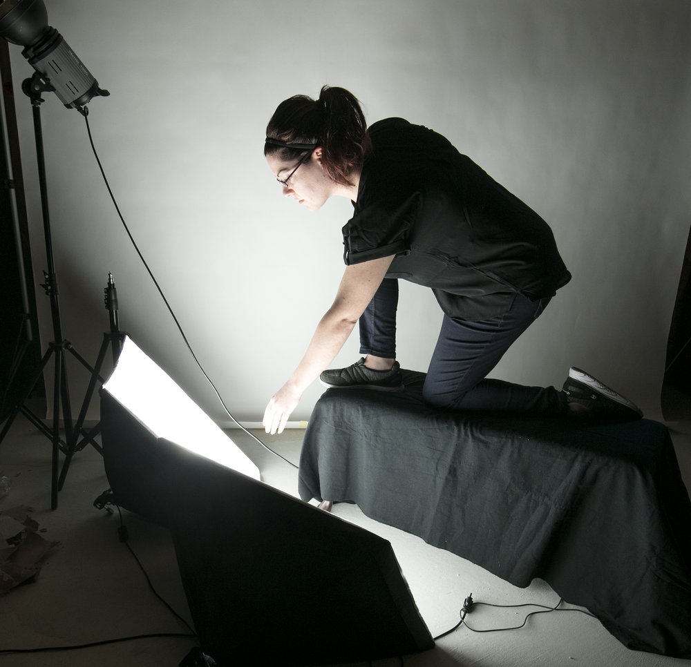 The lighting setup was designed to mimic the light produced from a large cell phone.