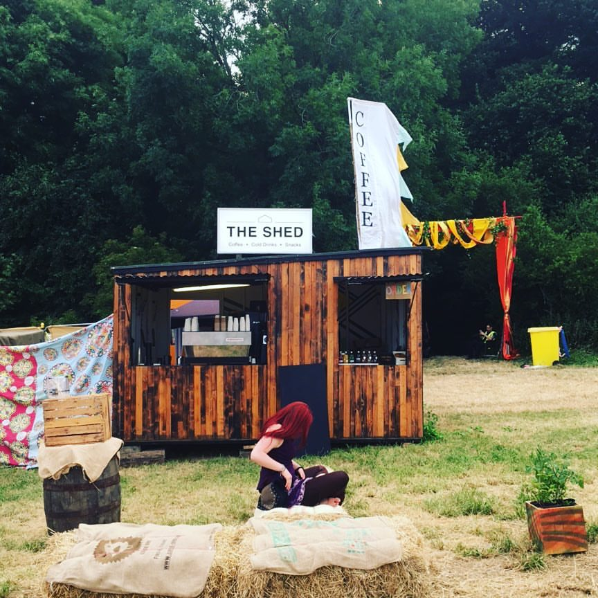 The Shed - Our most popular set-up, The Shed is a hand-built unit that's 4m x 3.5m. Assembled within 2 hours in any location, The Shed is ideal for events spanning 1-5 days. Pictured above: Noisily Festival