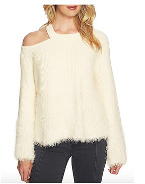 - 1 STATEEyelashFringe CutoutSweater