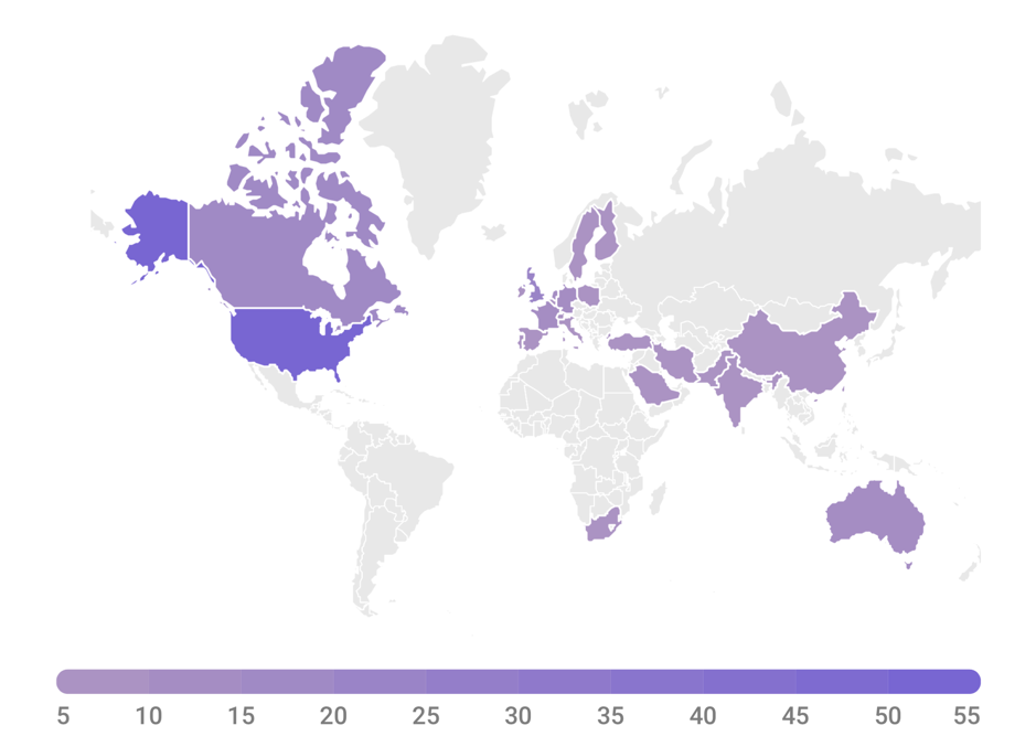 Distribution of the 450 participants in our mentoring program around the world.