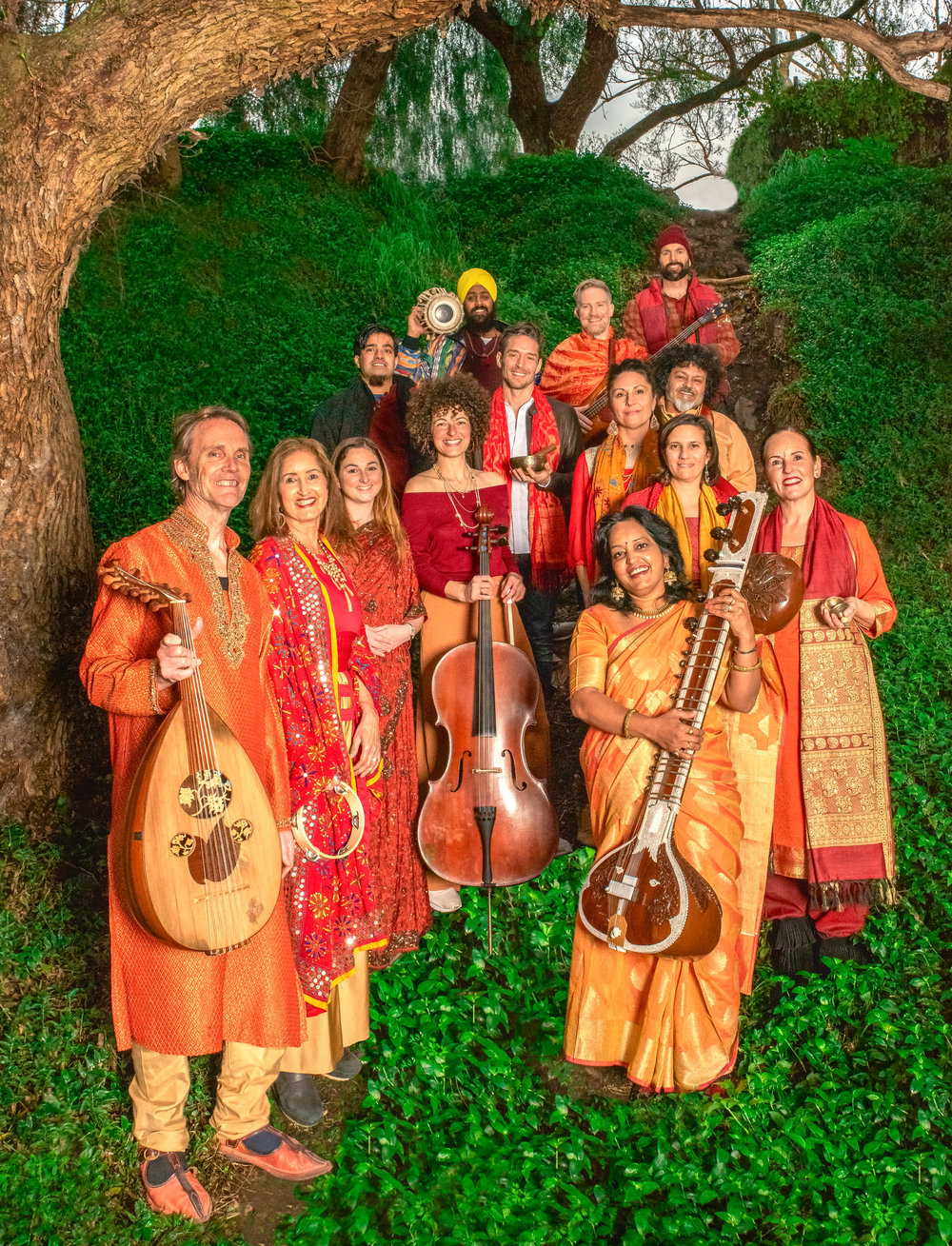Vedic Vibe ensemble (clockwise from left) Phil Gunter, Harb Gill, Stephanie Jackowski, Deborah Adelin (with cello), Govinda Puri, Richard Chambers (with tibetan bowl), Jagdeep Shergill (with tabla on shoulder), Dhanesh Trimmer, Scott Fraser (red hat), Boaz Modman (curly black hair), Carlie Mills, Dianna Tarr, Sam Cox and Sarita McHarg (with sitar). Picture: Martin Reddy