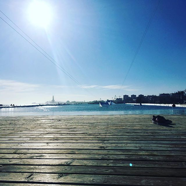#wakeboardpark in Badalona this beautiful sunny Sunday #badalona #barcelona #sun #sunday #sundayvibes #jump #wakeboard
