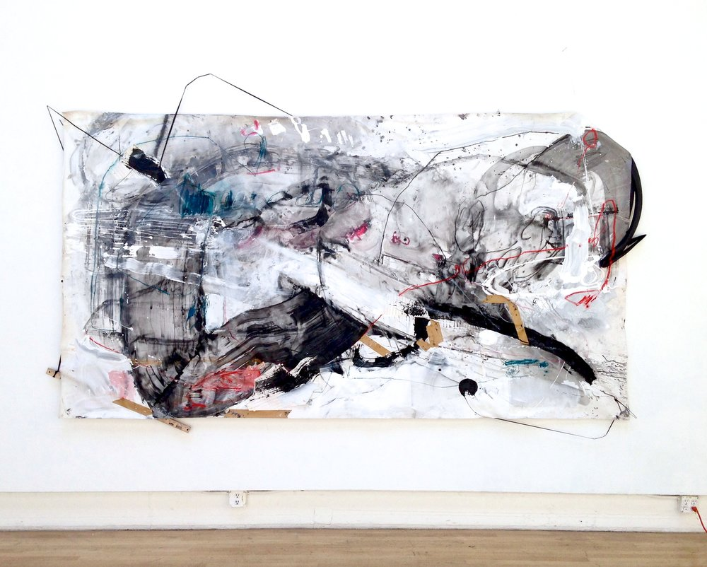 Mercy Over Rules , latex paint, ink, pastel, charcoal, papers, yardstick, string, elastic cords, and bicycle tires on canvas, 72×132 inches, 2015