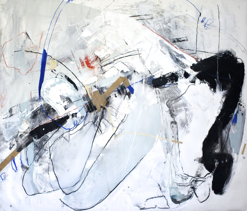 Suffering Stand , acrylic, latex, pastel, charcoal, and tape on paper, 72×84 inches, 2015