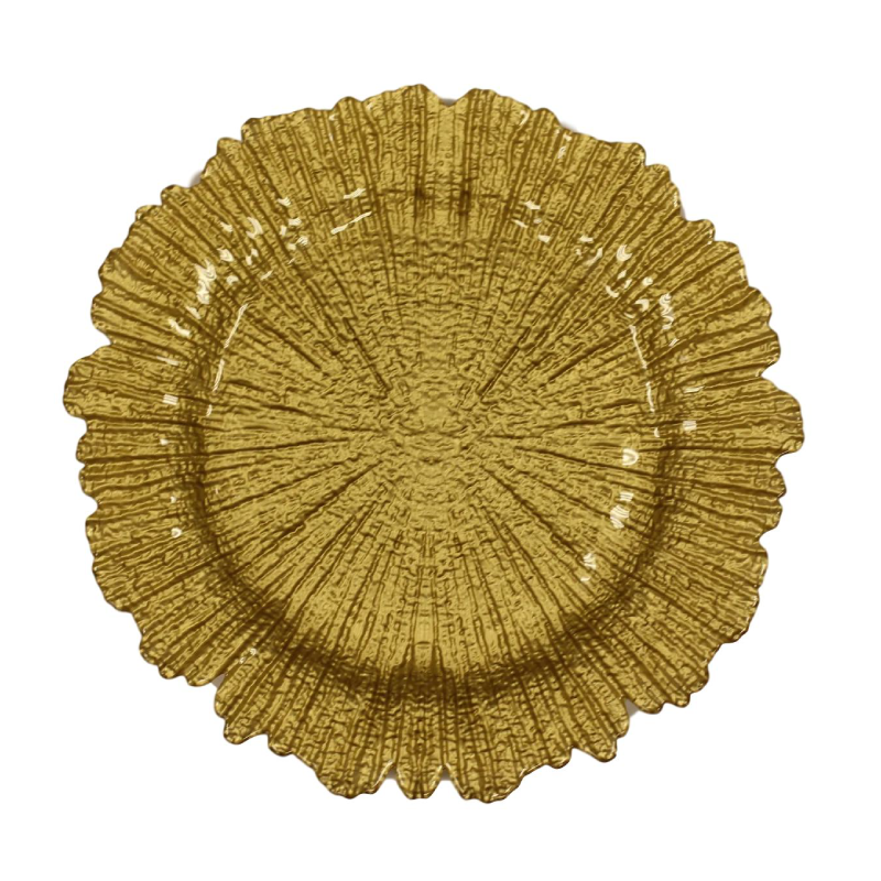 Gold Sponge Glass Charger  | Atlanta Party Rentals