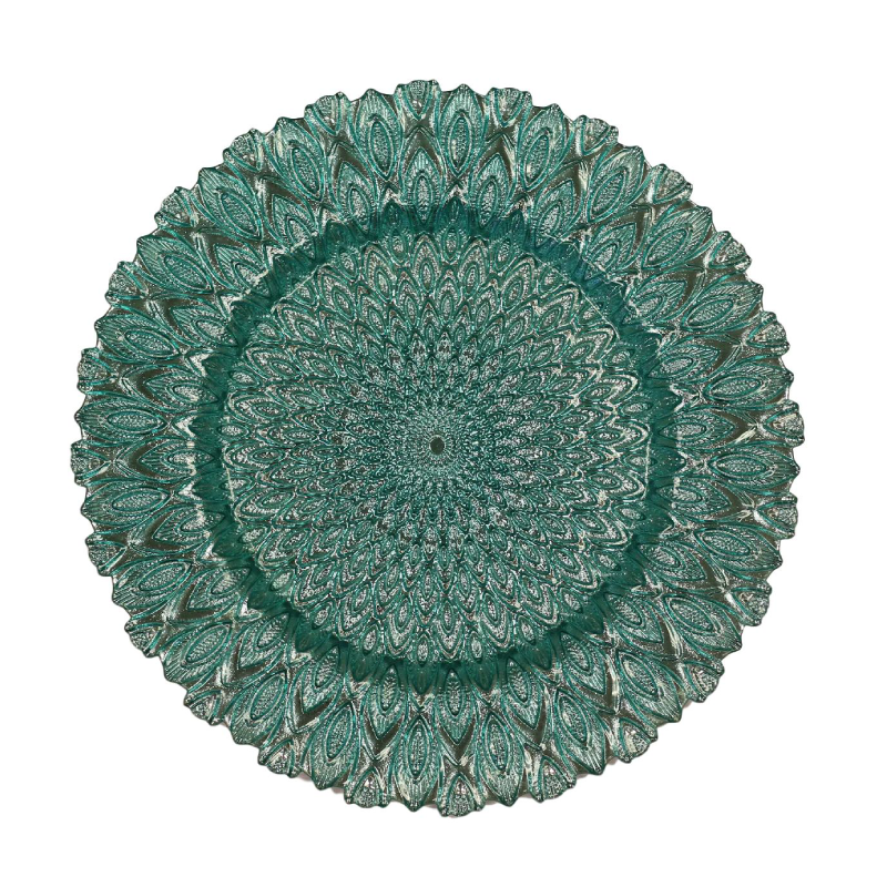 Turquoise Peacock Glass Charger | Atlanta Party Rentals