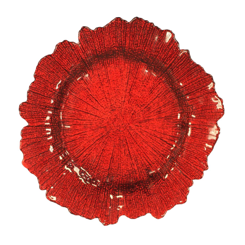 Light Red Sponge Glass Charger | Atlanta Party Rentals