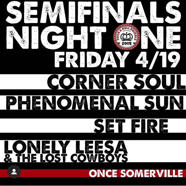 Tonight! @rocknrollrumble @setfireband @corner_soul @anngelle @bostonemissions @oncesomerville @jacksabbycraftlagers