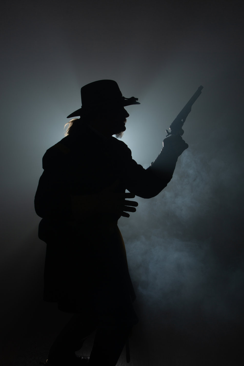 - Here, while dressed in his Civil War uniform, we played around with using the fog machine. While it didn't turn out to be a spectacular image, we did gain some more insight into what we could and couldn't accomplish with the fog.