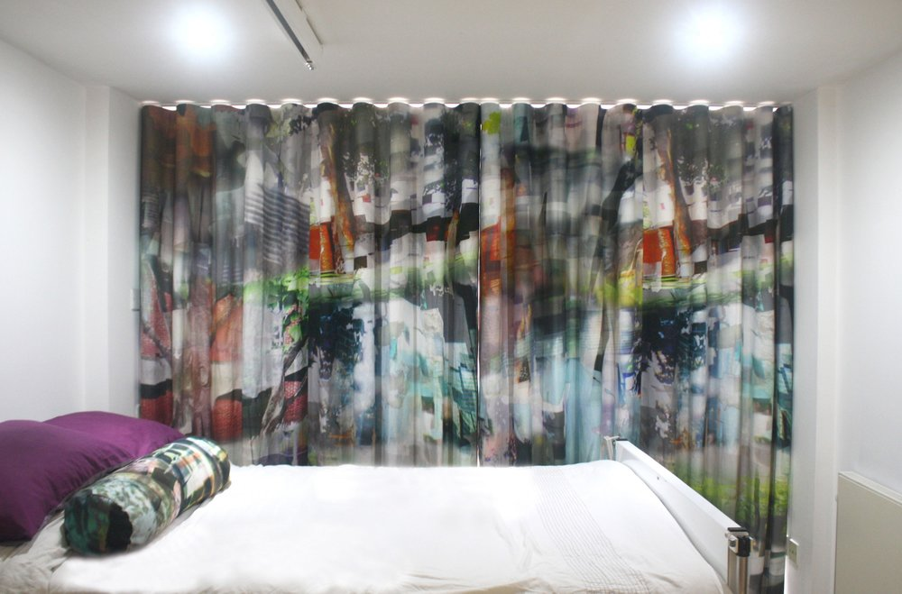 Completed curtain installed in bedroom with imagery created from Falmer Campus photography