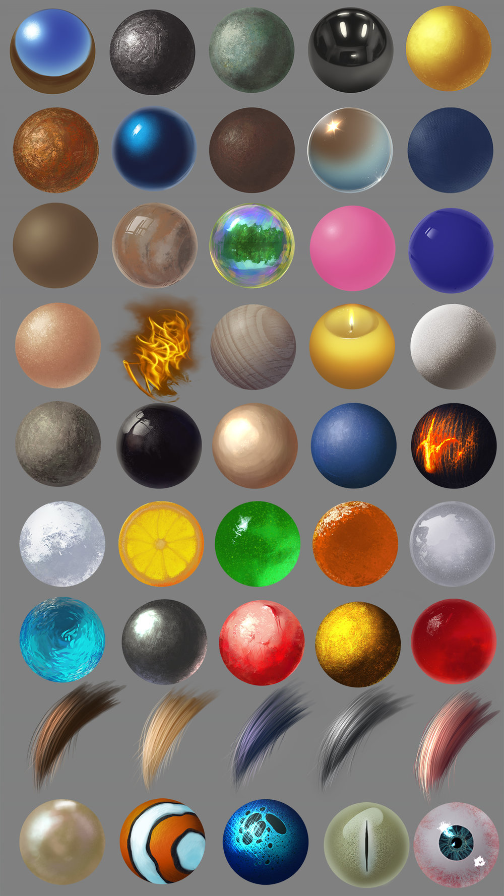 Practice at rendering different materials