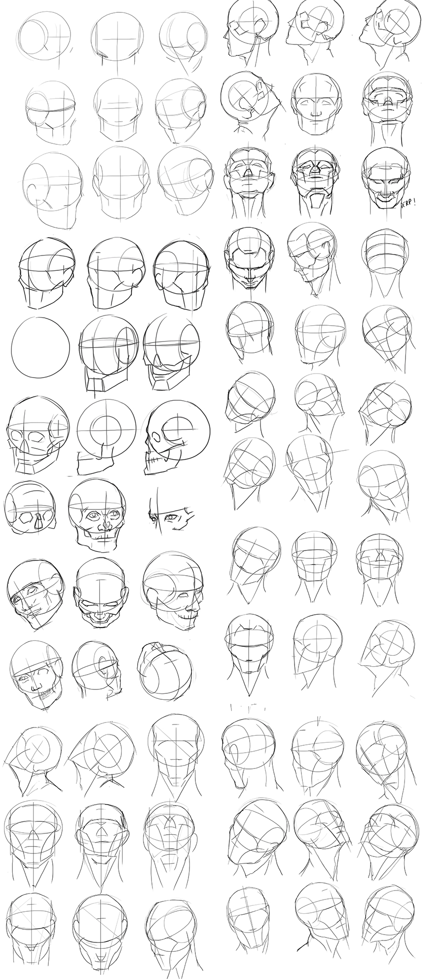 Practice drawing heads from different angles using Andrew Loomis' techniques.