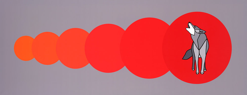 "Circle, Circle, Circle, Circle, Circle, WOLF   80"" x 30"" Mixed Media on Canvas  Jason Carter, 2017  $6050"